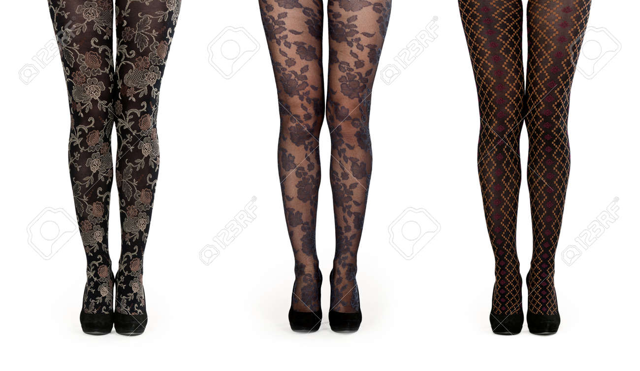 A collage made up of three pairs of female legs in pantyhose and shoes isolated on a white background. The image is composed of several photographs. Stock Photo - 10446534