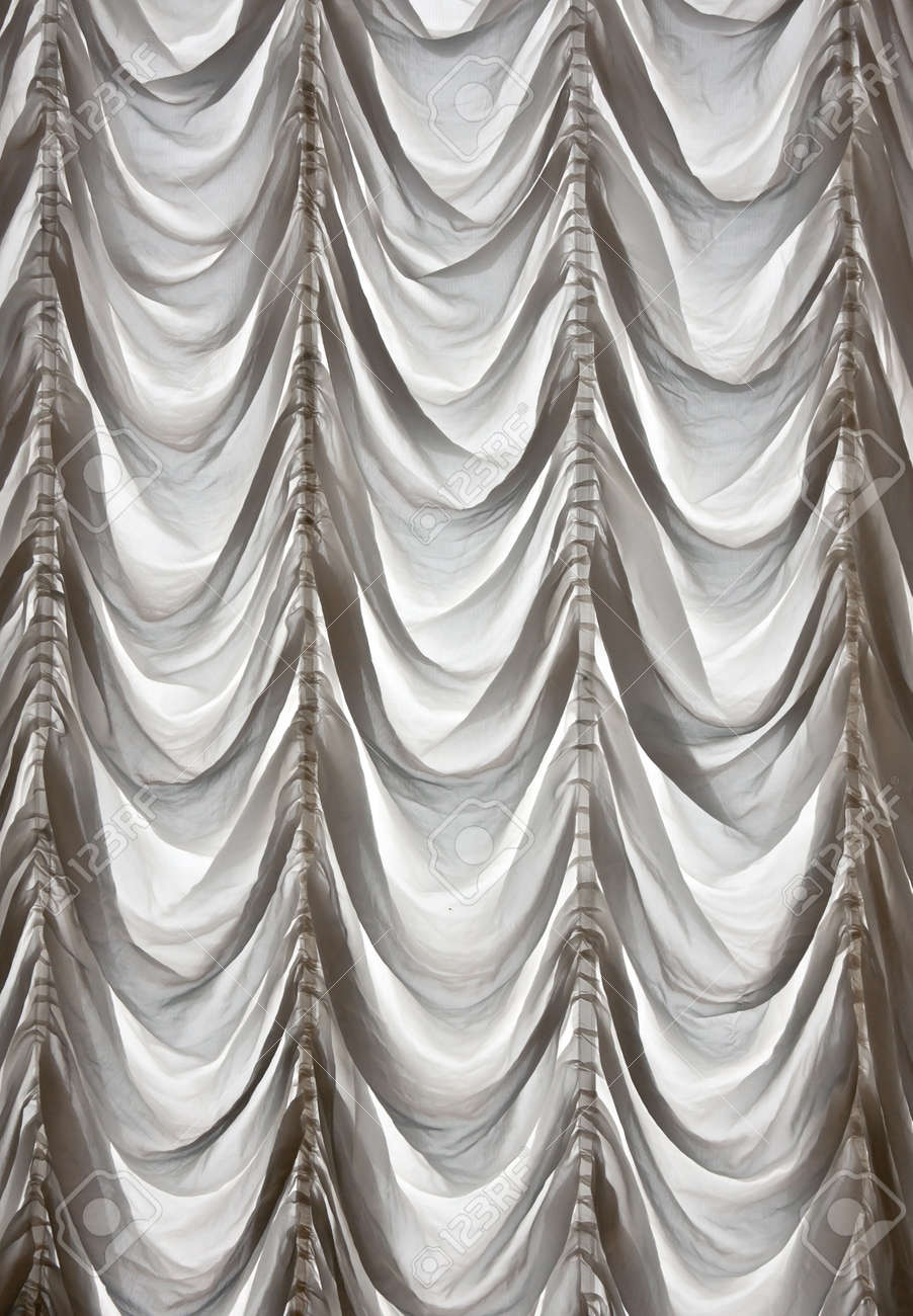 White Curtains Draped Theater In The Background Stock Photo   10731018