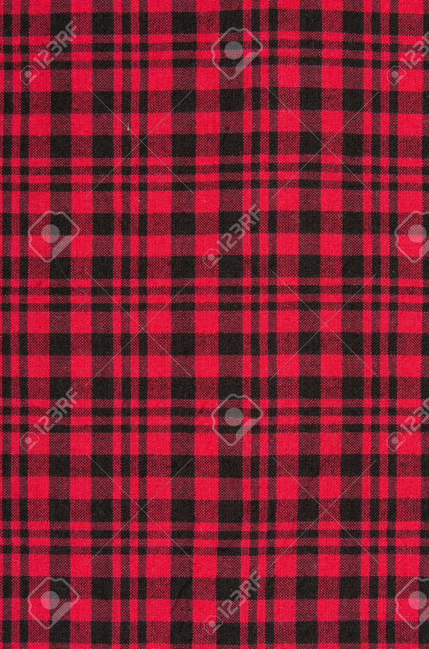 The red checkered cloth background. Stock Photo - 13246488