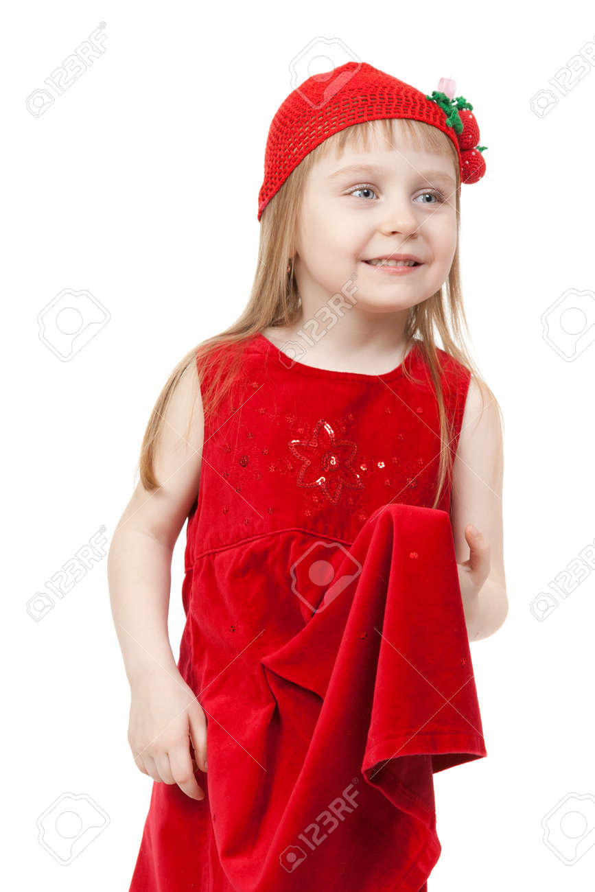 Charming Little Girl In Red Cap And Gown Stock Photo, Picture And ...