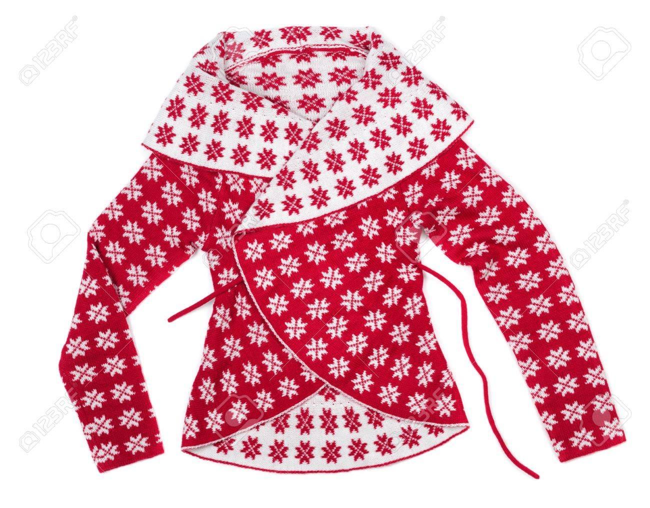 Moda Mujer Jersey De Punto Con Un Patrón De Copos De Nieve. Aislar ...