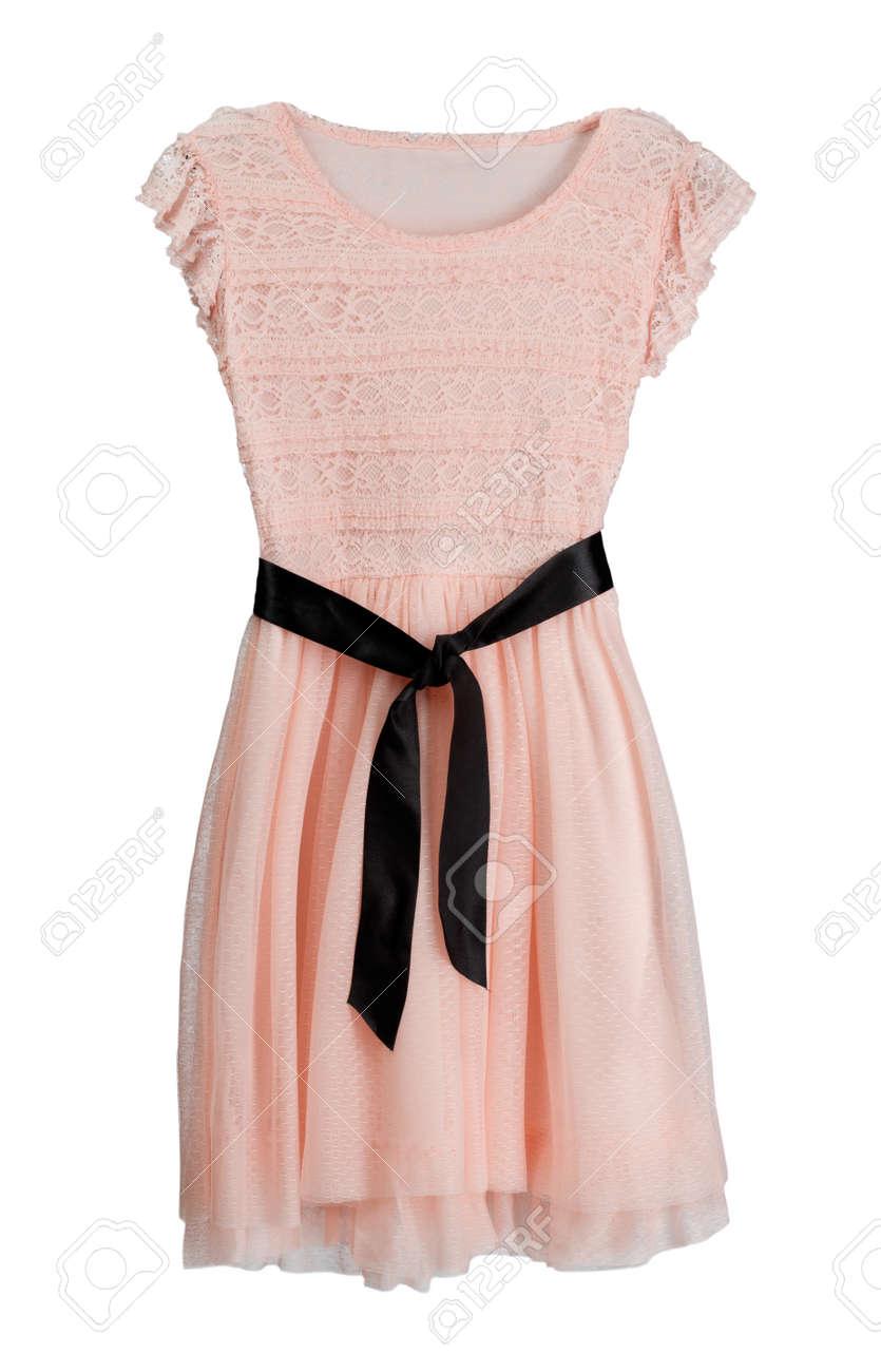 Vestido Rosa Con Cinturón Negro Aislar En Blanco