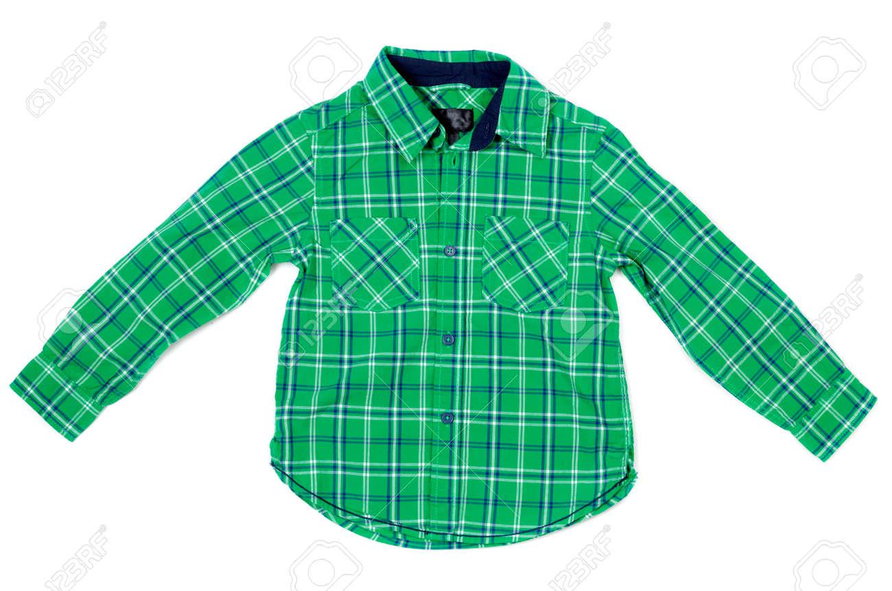 brand new d8ea1 9222f Camicia a quadri verde per bambini. Isolati su bianco