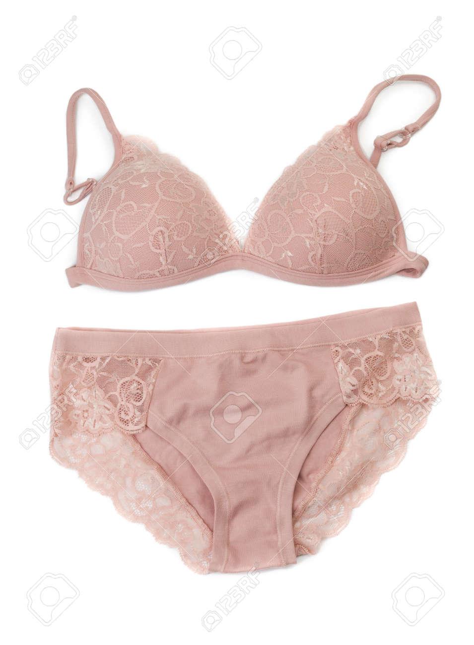 57d0619bd Beige set of lingerie. Isolate on white. Stock Photo - 31075985