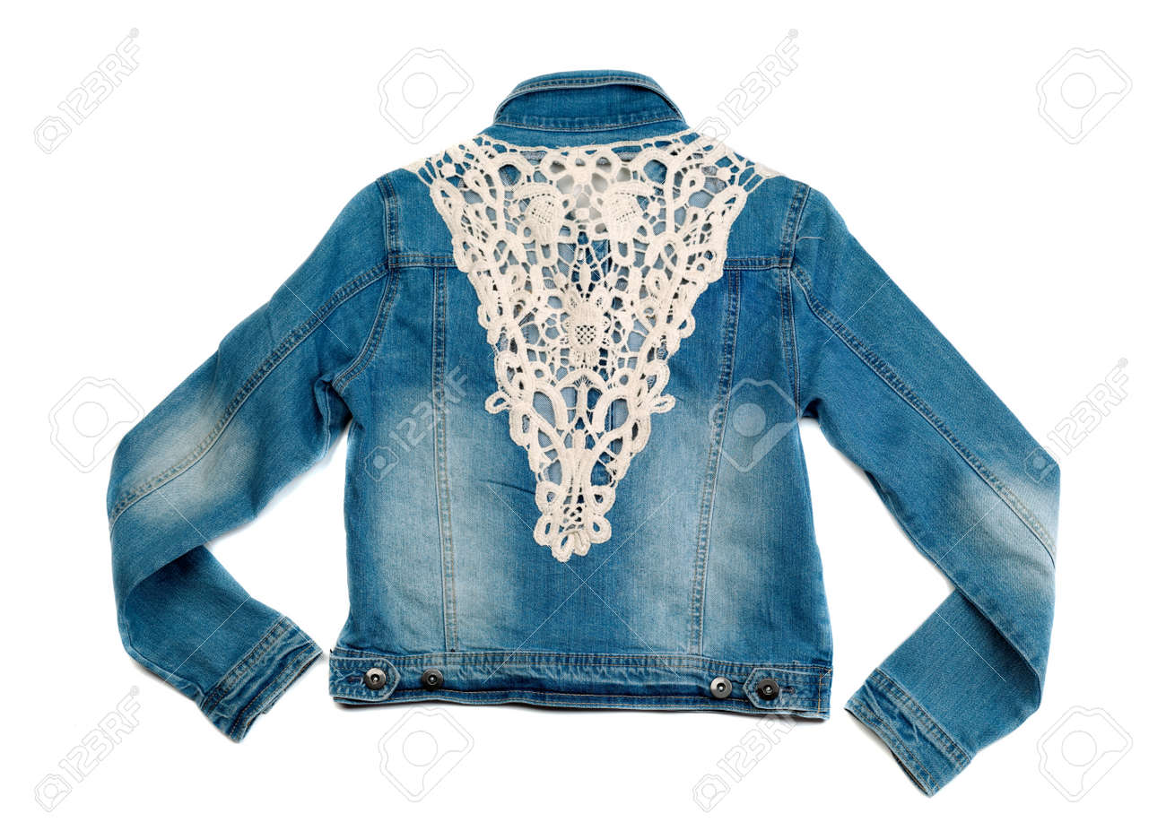 Blue Denim Jacket With Lace View From The Back Isolate On White