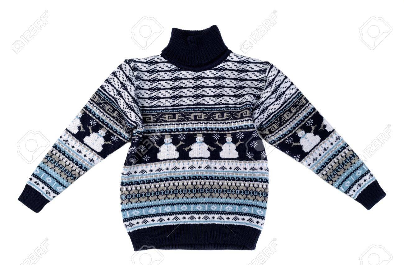 06c783d7d761 Knitted Sweater With A Snowman Pattern. Isolate On White. Stock ...