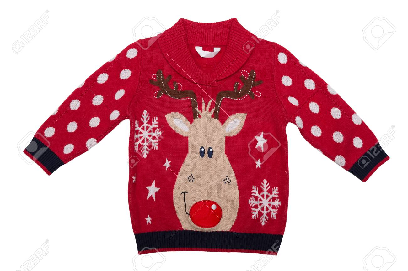 0177b679890a Red Knitted Baby Sweater With A Deer Pattern. Isolate On White ...