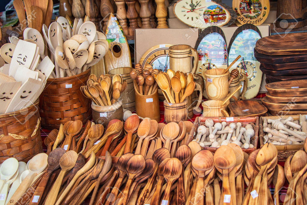is sold on the street hand-made wooden utensils