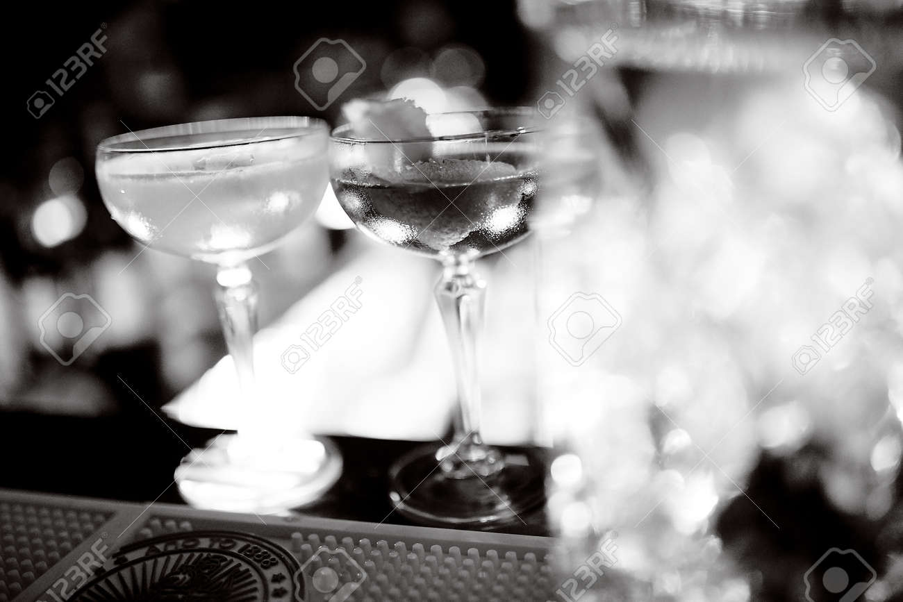 Two Champagne Saucers On A Table On The Bar Stock Photo Picture And Royalty Free Image Image 121189325