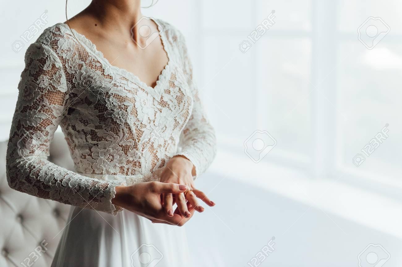 Wedding. Bride. Preparations. Wedding Dress. Bride In Cream-colored ...