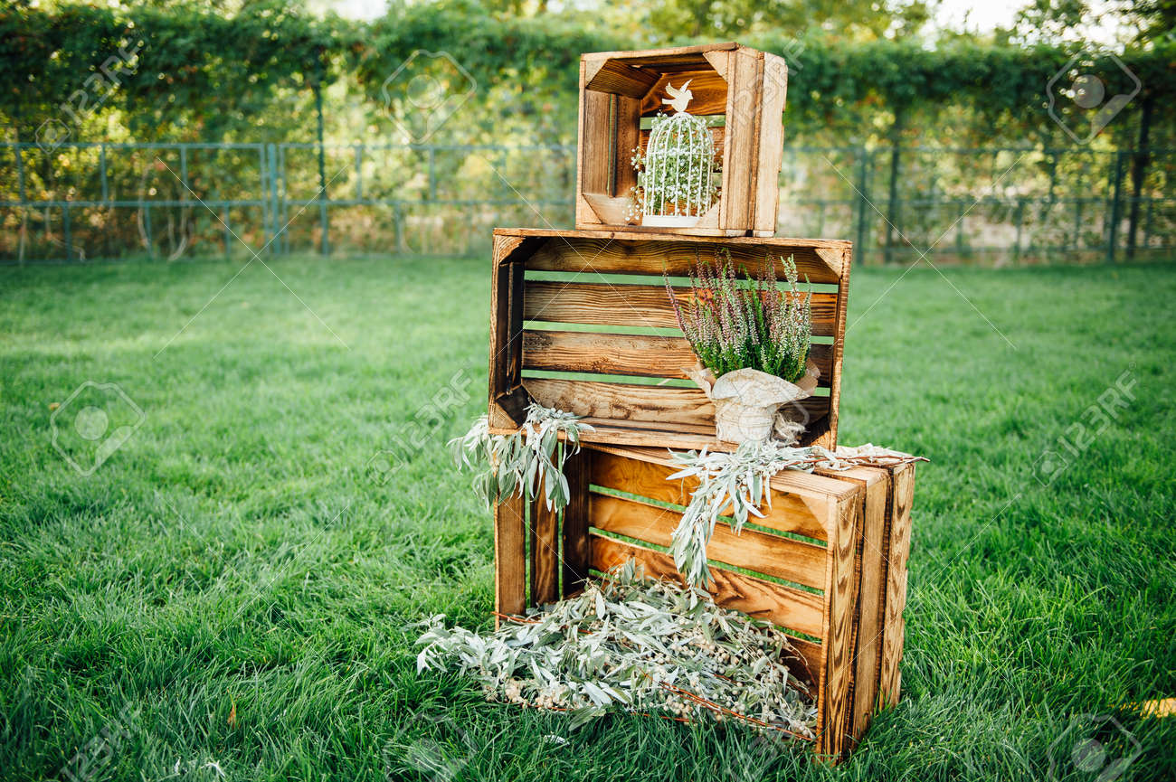 Rustic wedding outdoor photo zone hand made wedding decorations rustic wedding outdoor photo zone hand made wedding decorations includes wooden boxes flowers and junglespirit Images