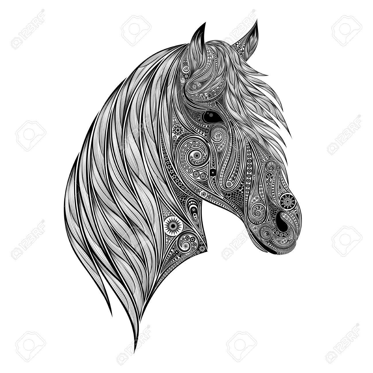 Abstract Vector Silhouette Of A Horse Head Patterns Royalty Free Cliparts Vectors And Stock Illustration Image 72813417