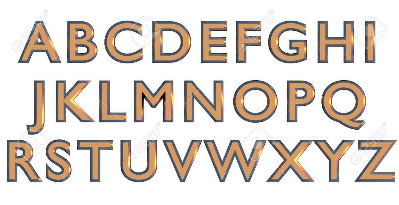 English alphabet in gold upper case letters, custom 3D font variant