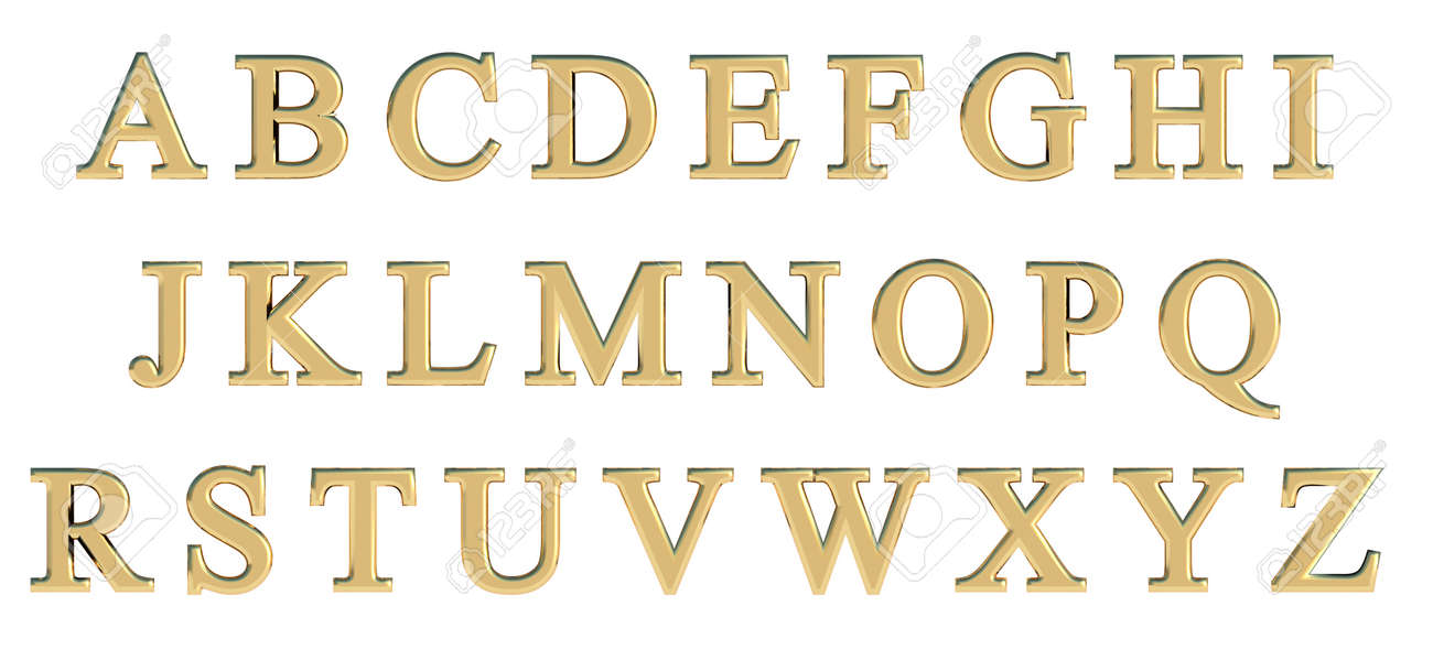 English Alphabet In Gold Capital Letters Times New Roman Custom 3D Font Variant Stock