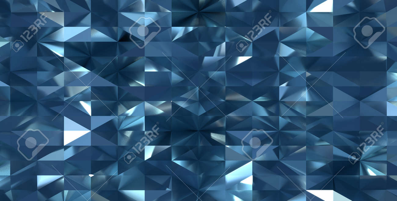 Abstract Art Dark Blue Mirror Reflective 3d Surface Render With