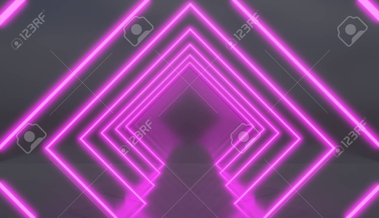 rhombus tunnel made of pink neon lights retro style render stock