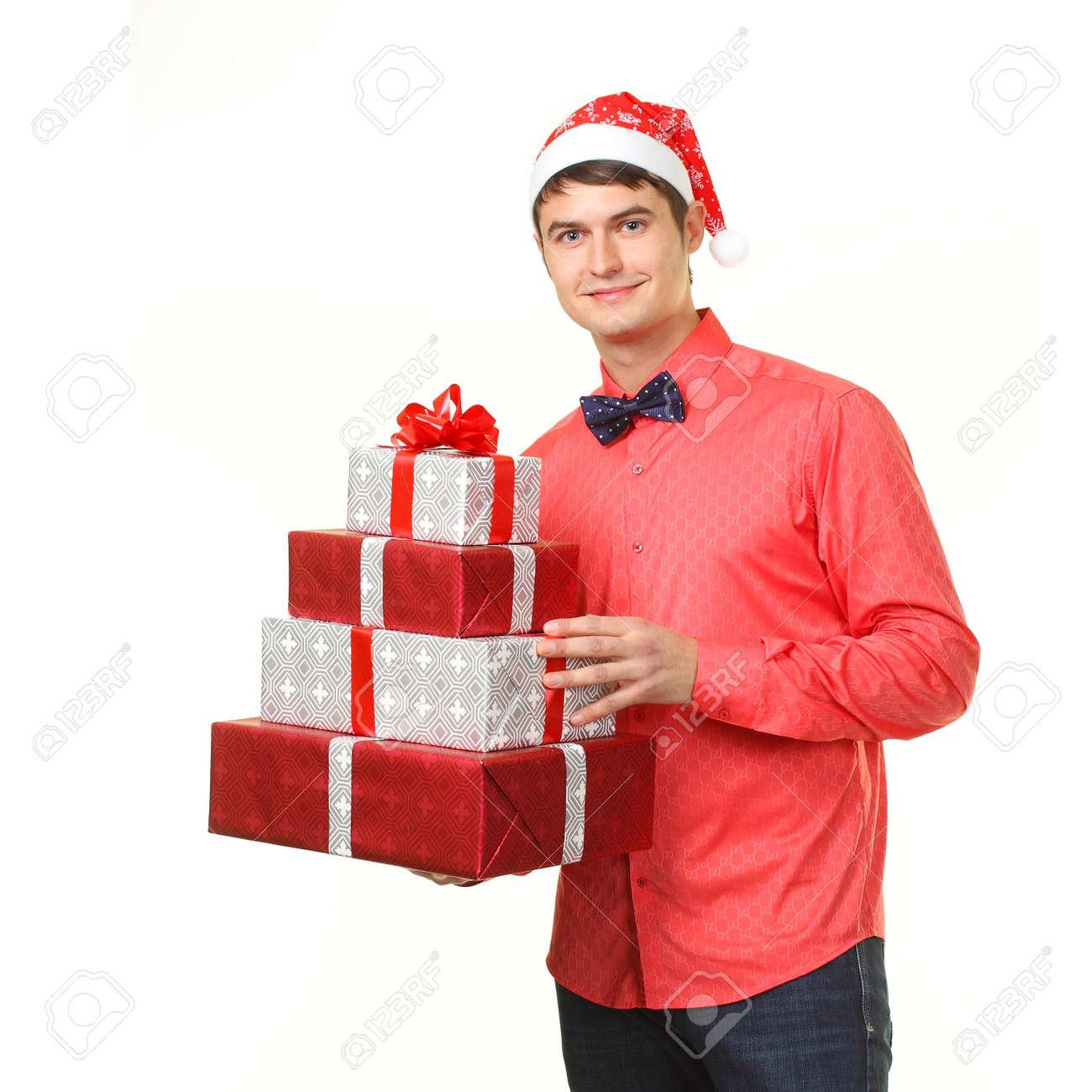 Männlich In Santa Hut Gibt Eine Menge Weihnachtsgeschenke ...