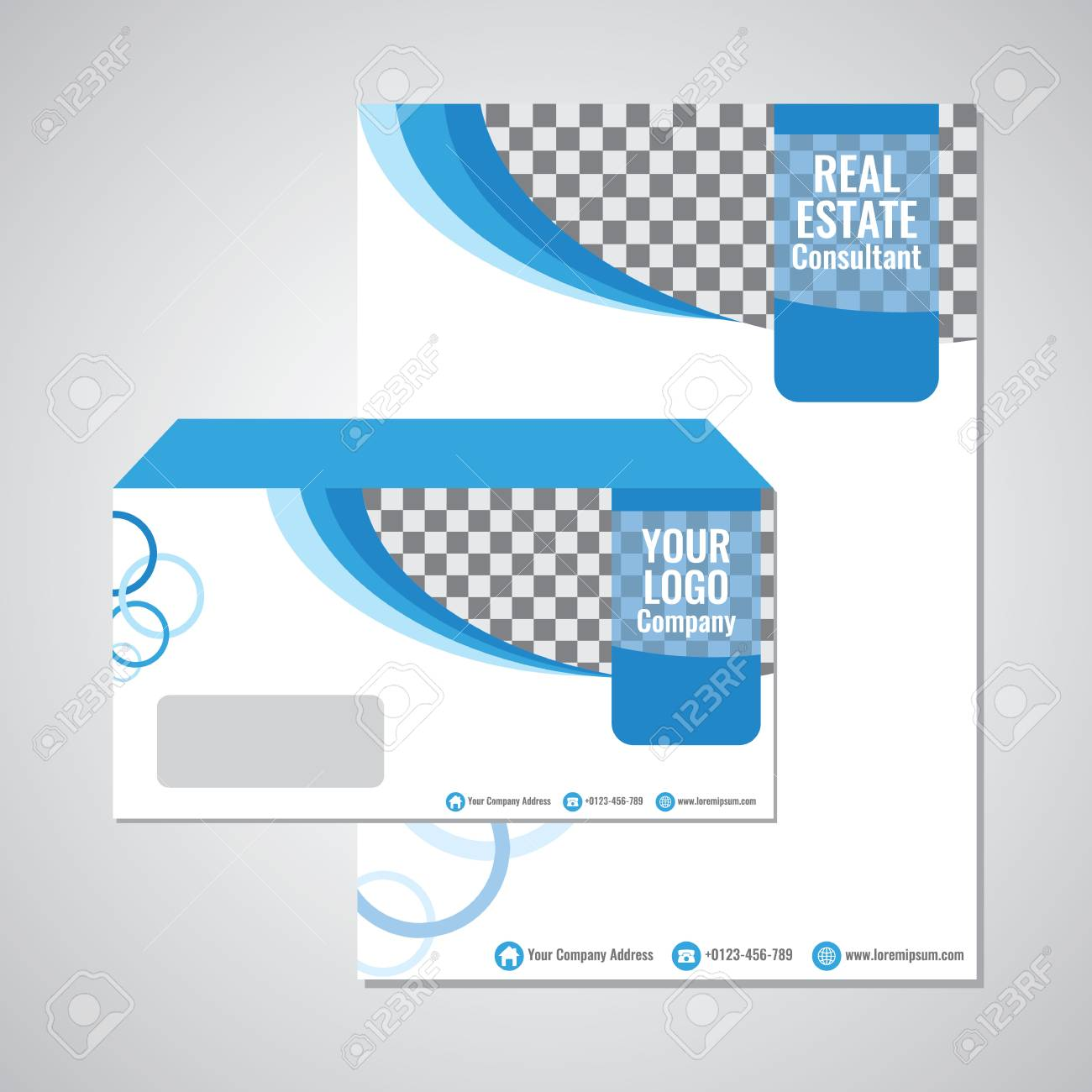 business paper envelope template vector design with blue wave