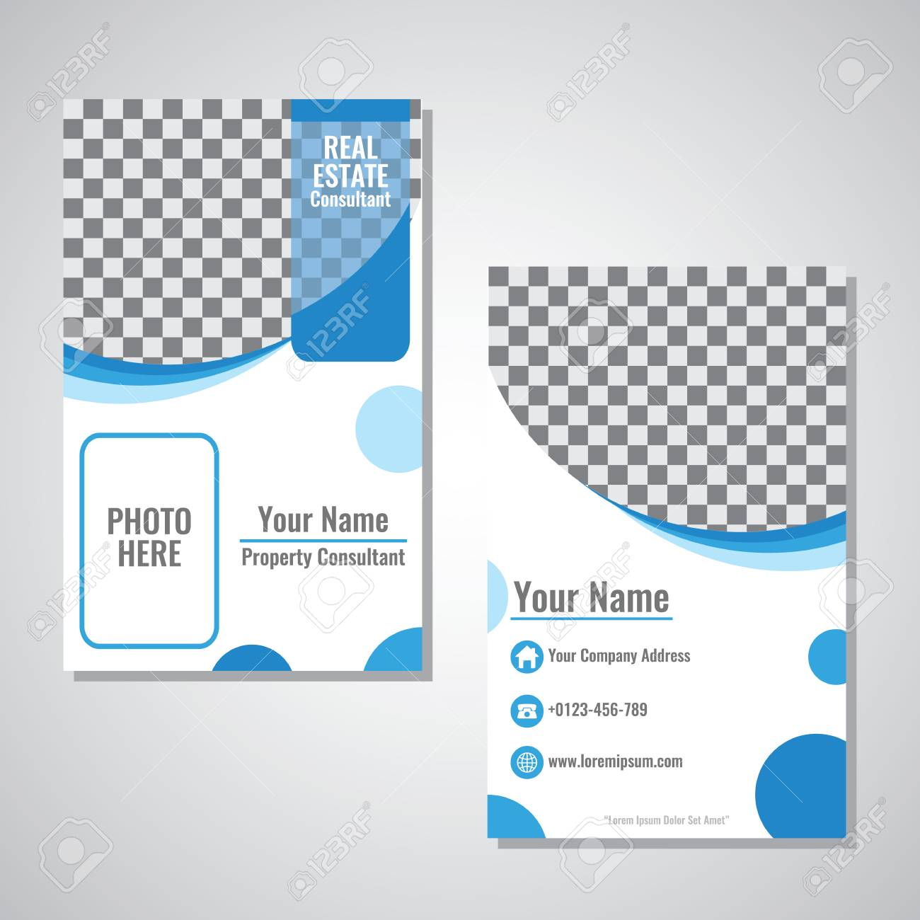 Business Vertical Identity Card Template Vector Design With Blue