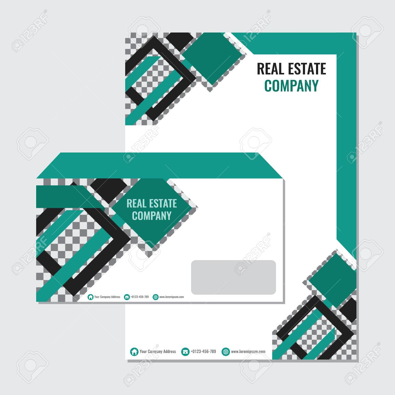 real estate business paper envelope template vector design with