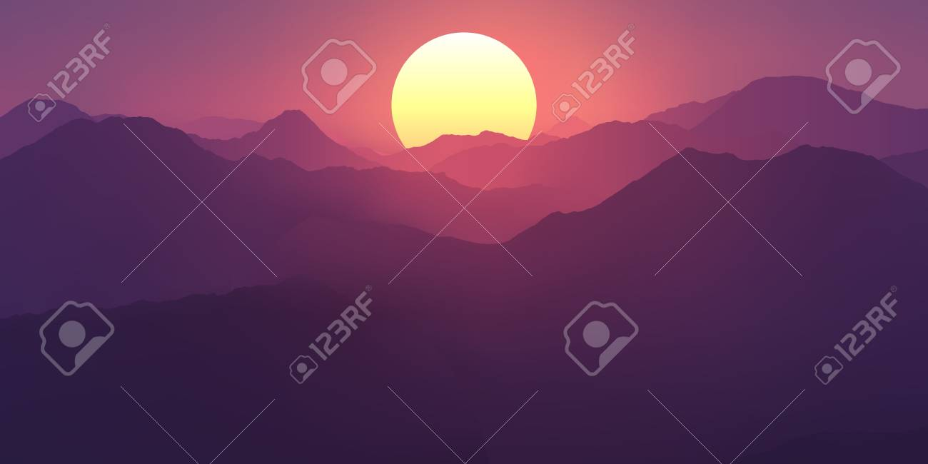 Pink And Purple Sunset In The Mountains Mountain Landscape With Royalty Free Cliparts Vectors And Stock Illustration Image 98088602