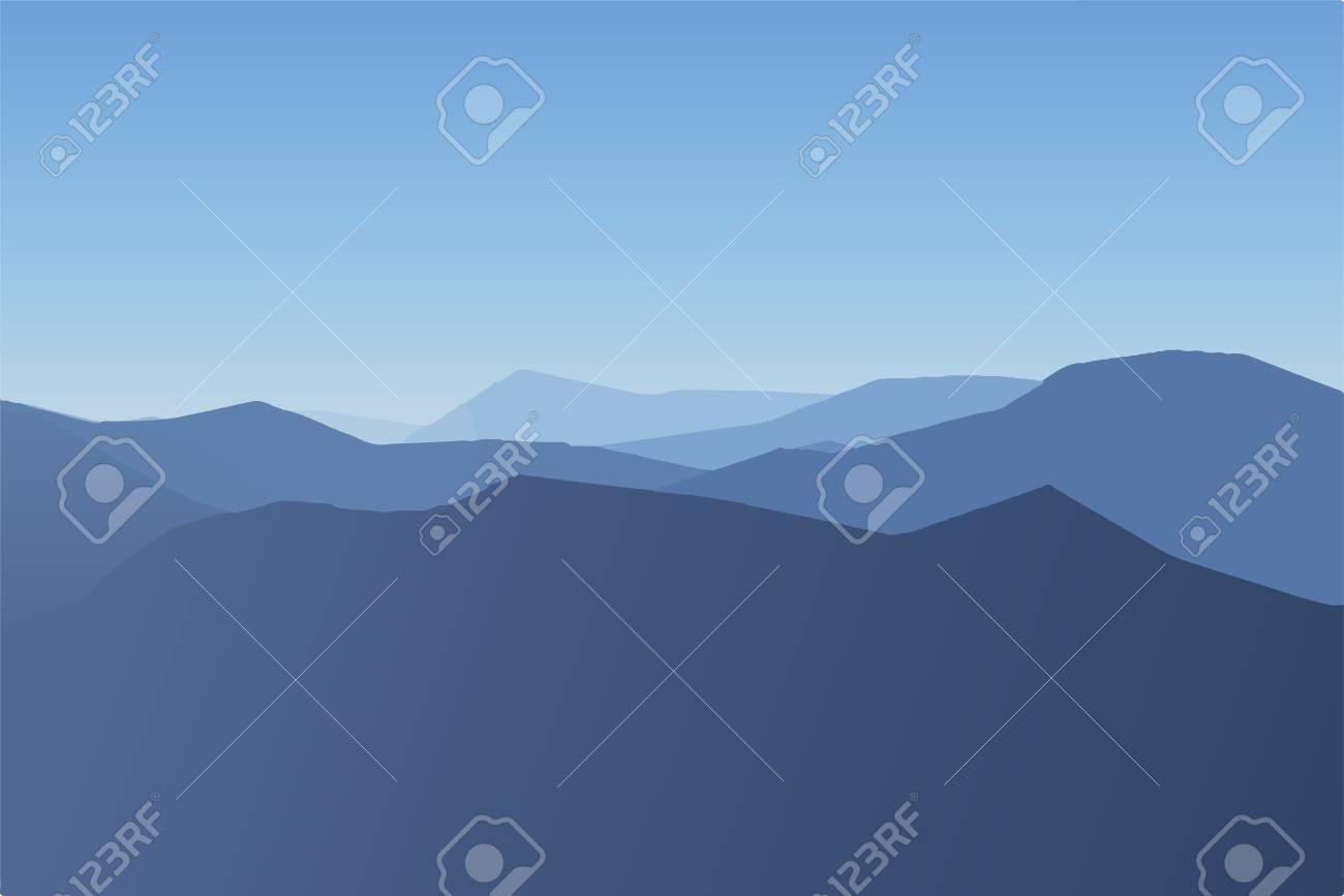 Cold mountain landscape foggy day landscape vector illustration. - 99155792
