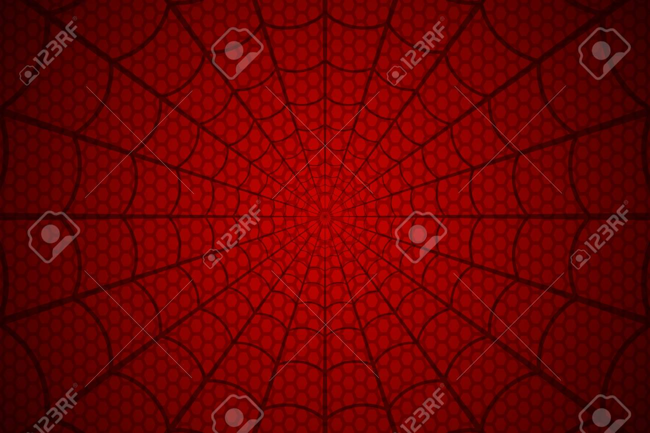 Black web on a red cellular background. Spider's web vector. - 110027748