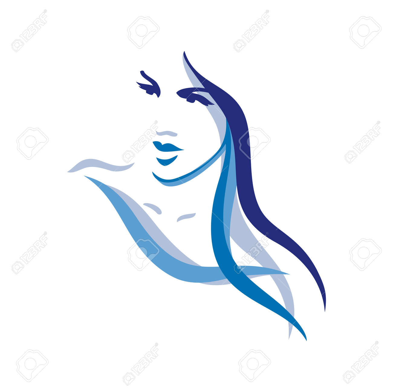 Beautiful woman face with long hair Stock Vector - 15594582