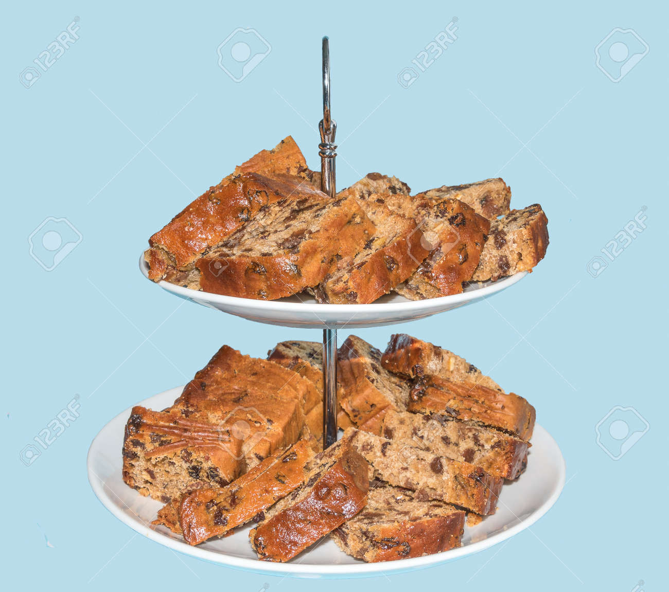 Afternoon Tea Welsh Bara Brith On A Cake Stand Isolated On A Stock Photo Picture And Royalty Free Image Image 86263298