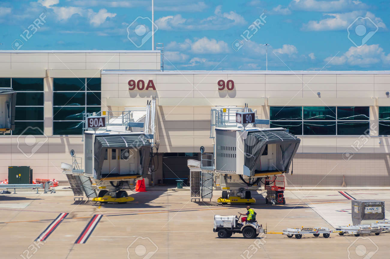 Image of a departure gate air bridge at Orlando Airport. Stock Photo -  86659918
