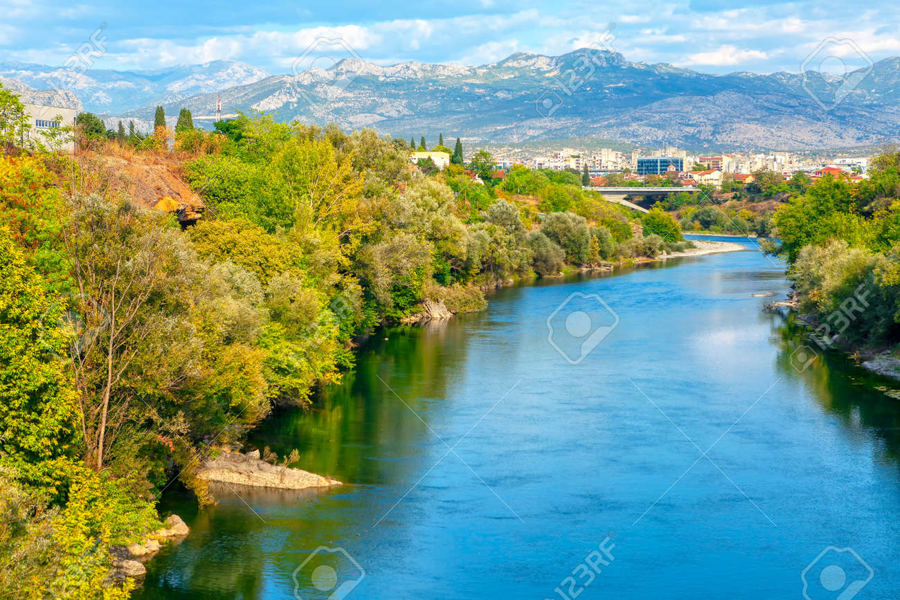 View of Moraca River and Mountains in Podgorica Montenegro - 167986655