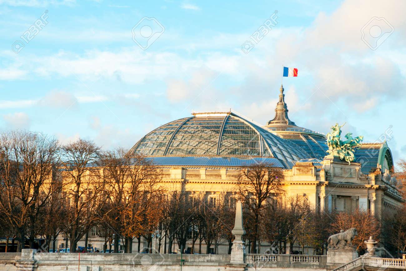 Grand Palais famous architecture in Paris . France flag waving on the famous building - 167986837