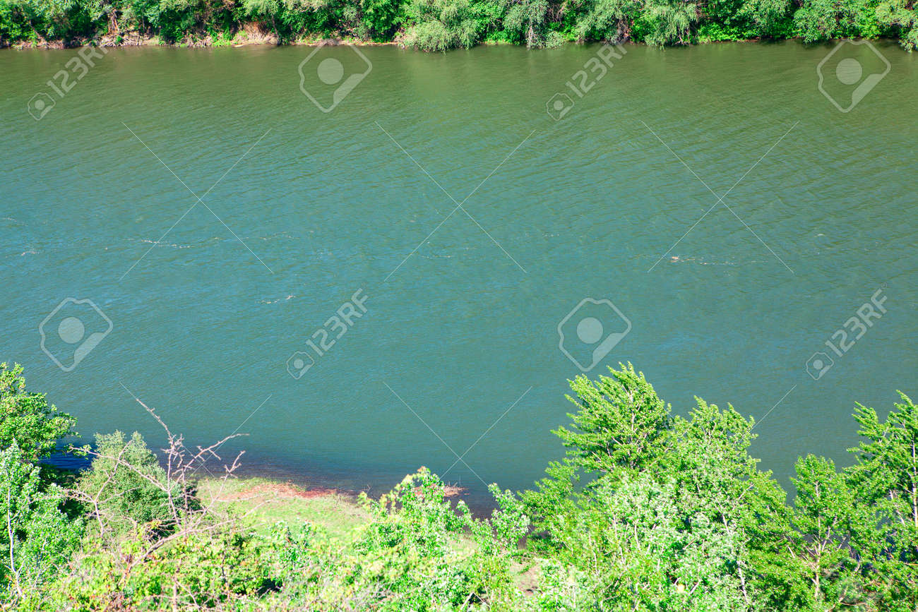 River view from above . Green riverside coast - 167986843