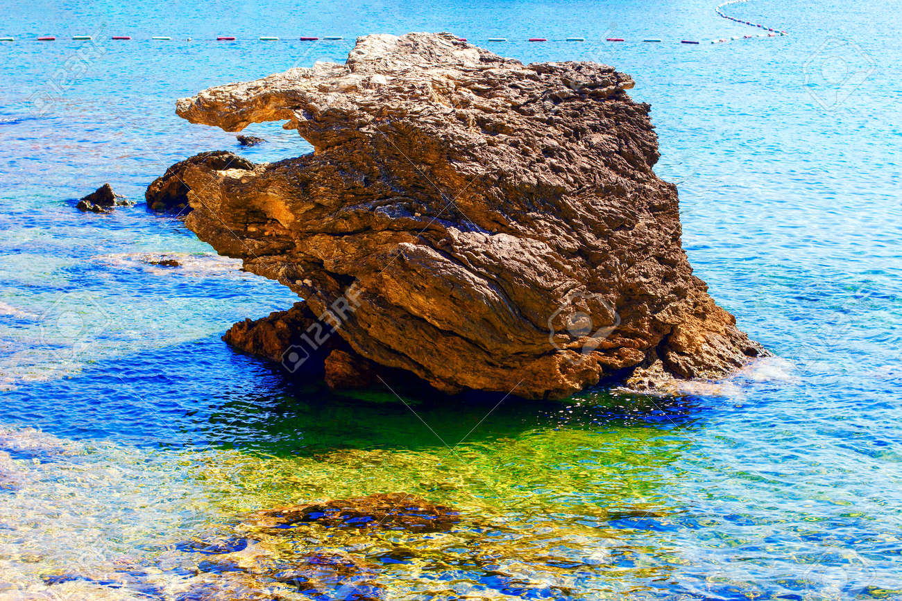 Coastal rock in the sea water . Exotic beach in the summer - 169431335