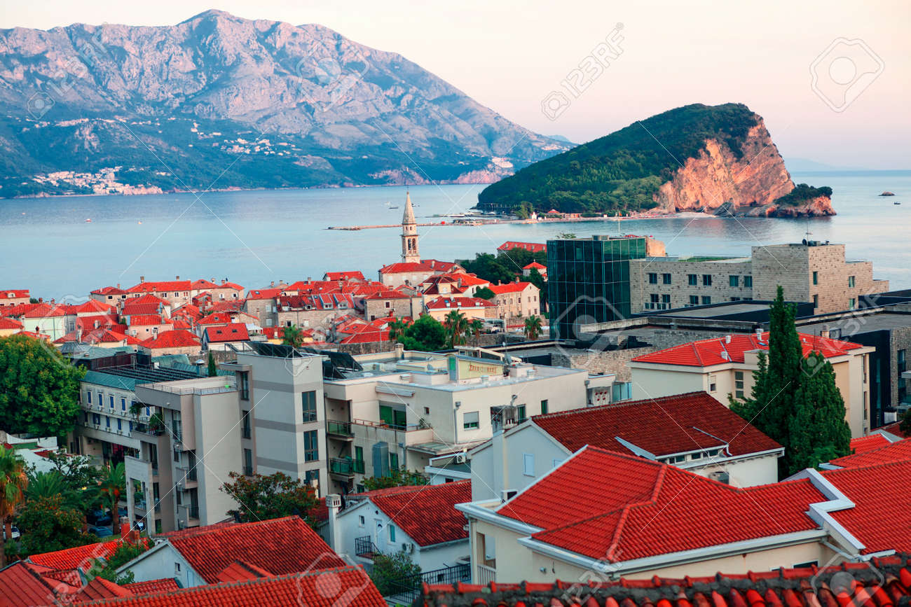 View of Budva Coastal town in Montenegro and Sveti Nikola island in Adriatic Sea - 169399181