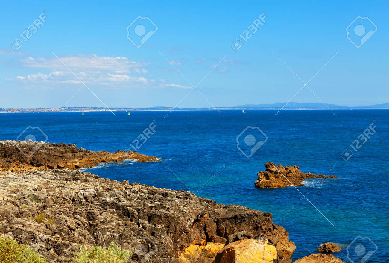 Atlantic Ocean Coast in Cascais Portugal . Rock coastal formation - 170092879