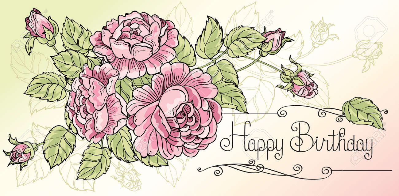 greeting card happy birthday with three roses stock vector - Happy Birthday Cards Flowers