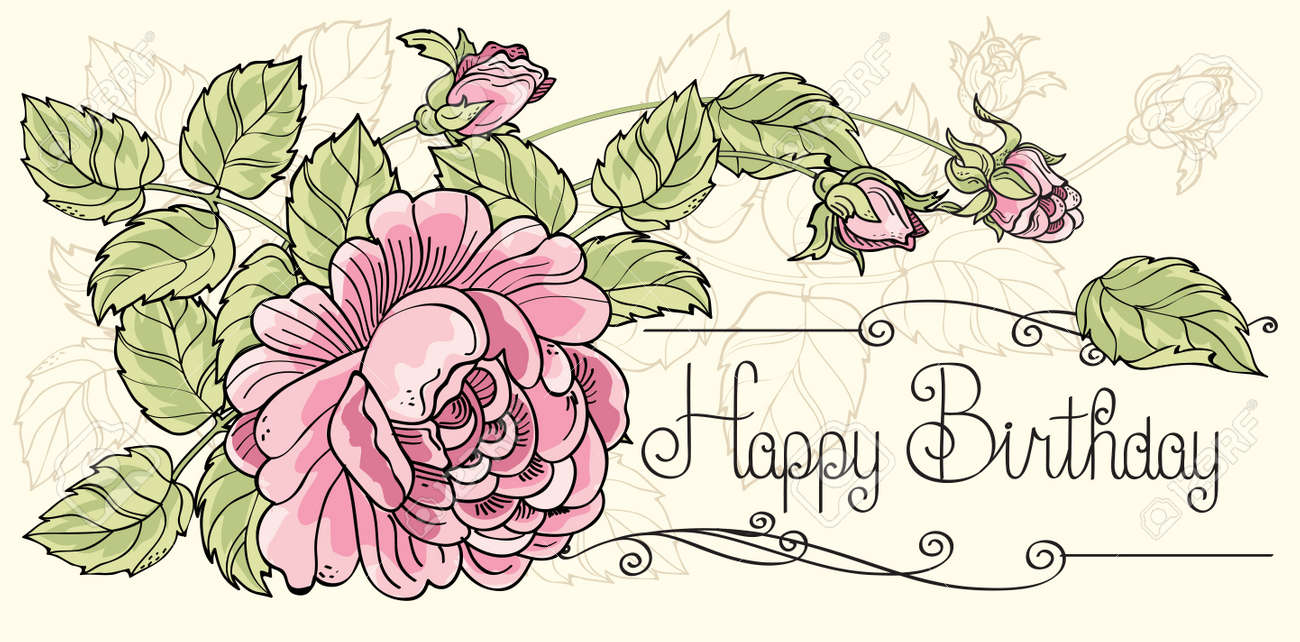 Greeting Card Happy Birthday With One Rose Stock Vector