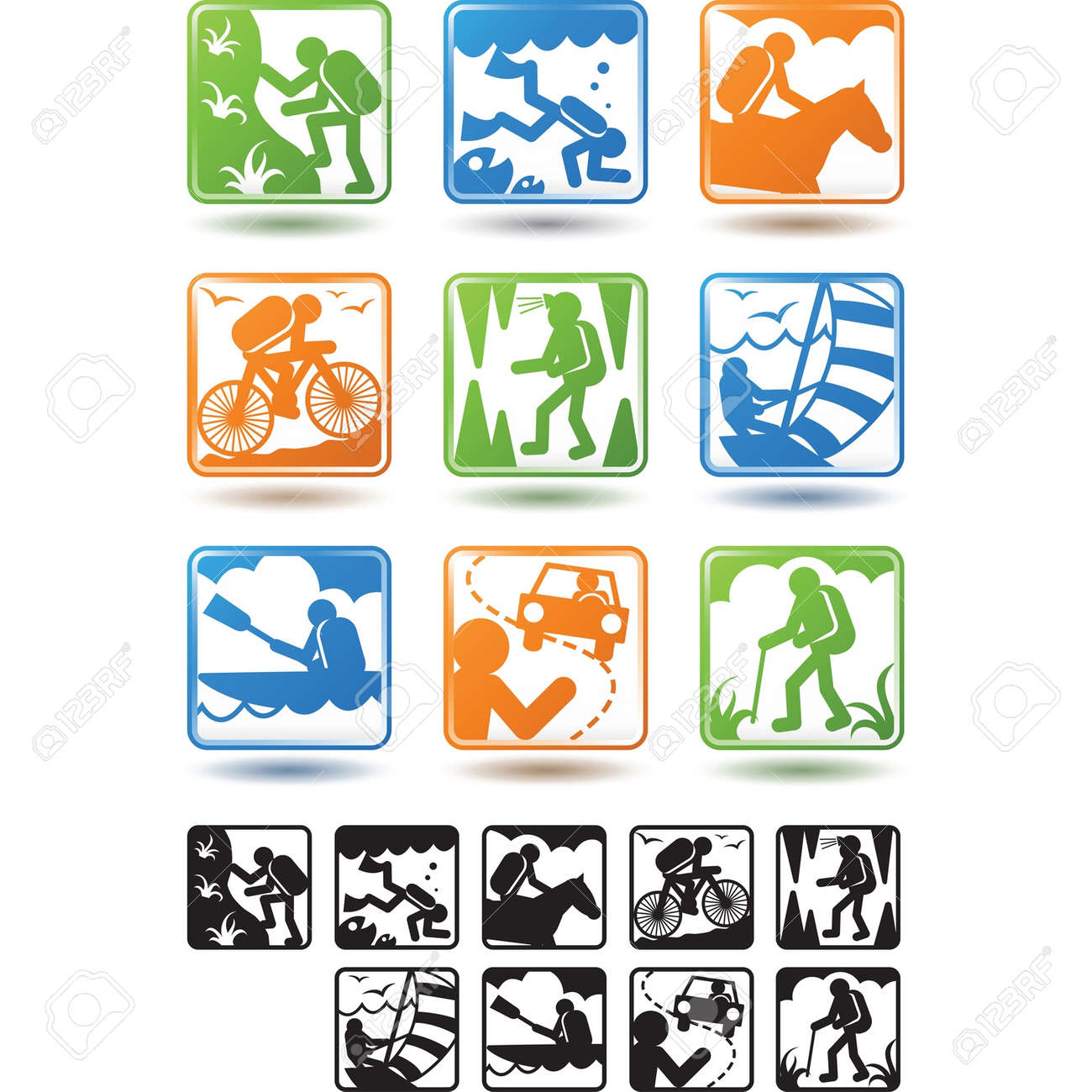 Active lifestyle, tourism icons Stock Vector - 13716859