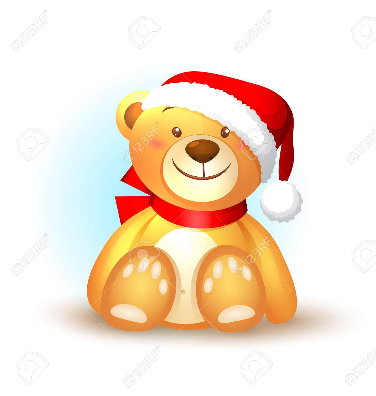 Nounours Noel Icône De Noël Avec Nounours Clip Art Libres De Droits , Vecteurs