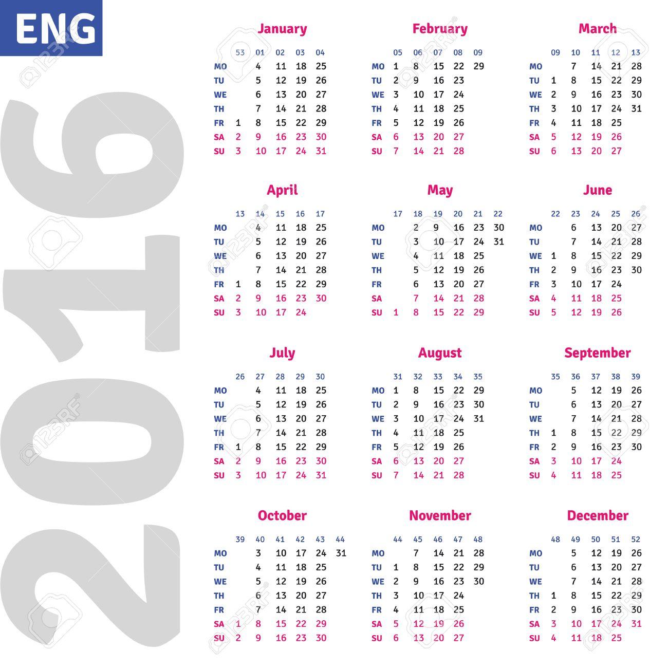 english calendar 2016 vertical calendar grid vector royalty free