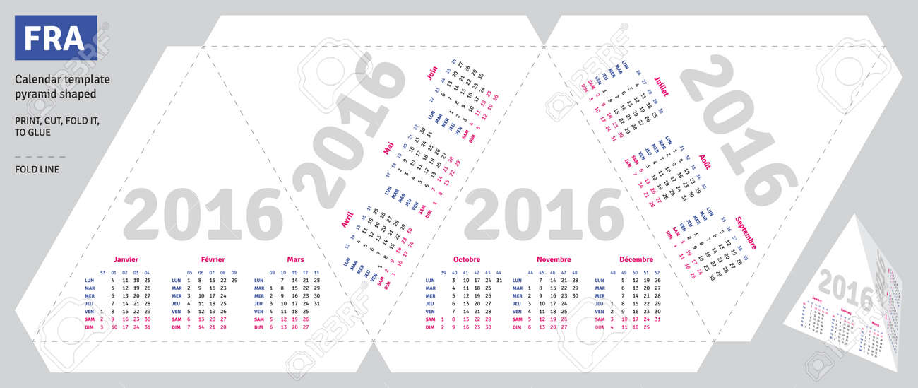 Template French Calendar 2016 Pyramid Shaped Royalty Free Cliparts