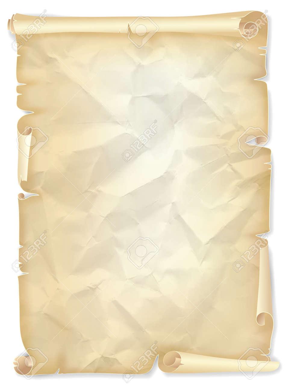 Старый мятую свиток пожелтевшей бумаги открыток или шаблон диплом  Старый мятую свиток пожелтевшей бумаги открыток или шаблон диплом иллюстрации Фото со стока
