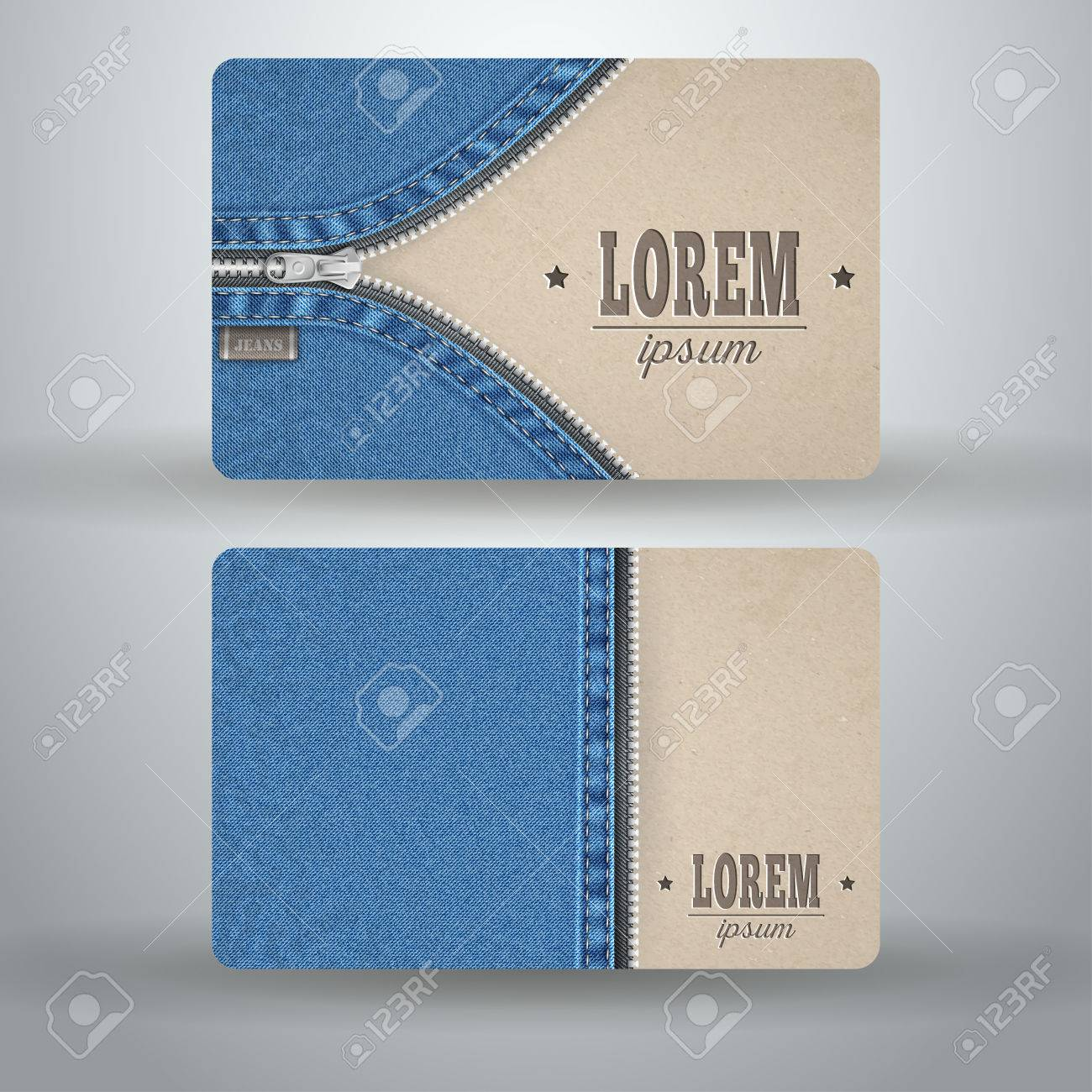 Business Card Template From Cardboard And Denim Royalty Free ...