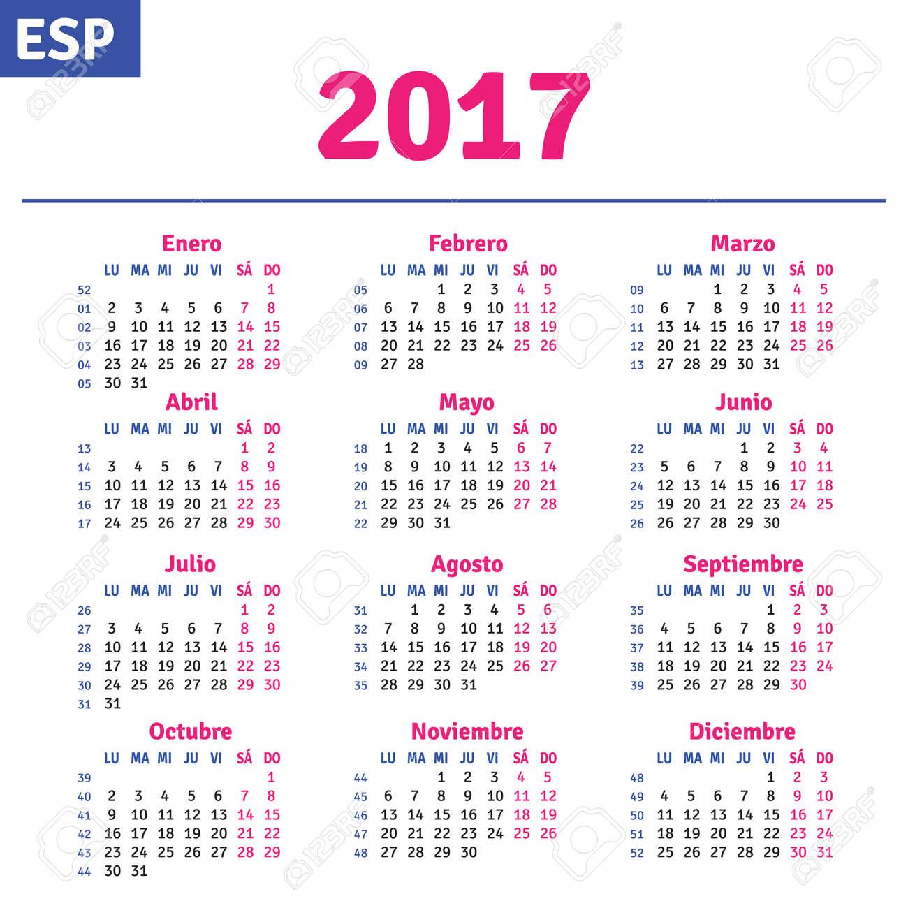 Spanish Calendar 2017, Horizontal Calendar Grid, Vector Royalty ...