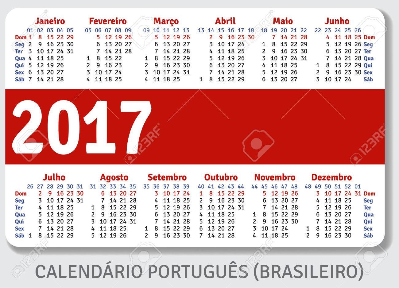 Portugués Brasileño Calendario De Bolsillo Para El Año 2017, De ...