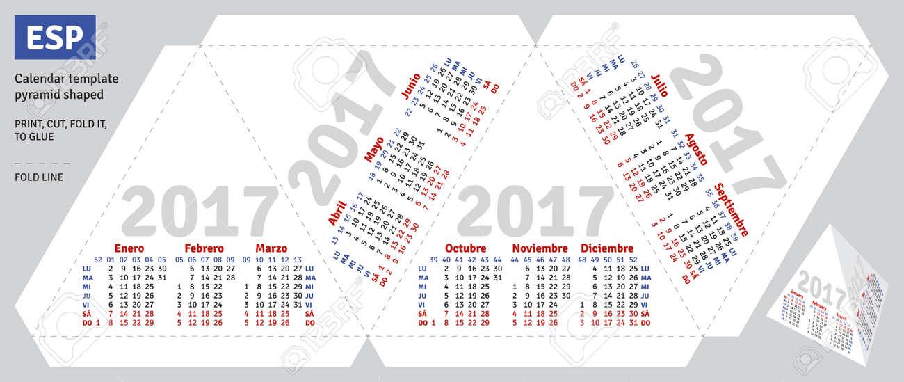 Template Spanish Calendar 2017 Pyramid Shaped Vector Royalty Free