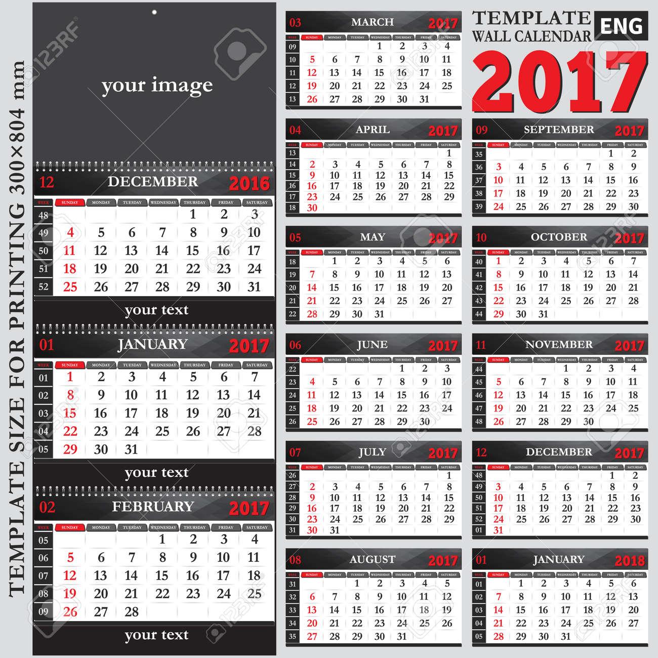 Inglés Pared Plantilla De Calendario Trimestral De 2017, El Tamaño ...