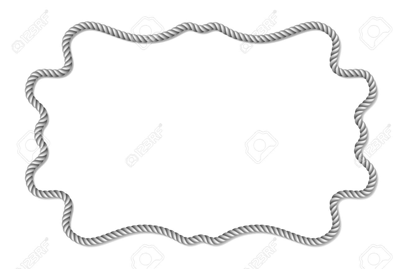 Grau Seil Gewebt Vektor Grenze, Horizontale Vektor-Rahmen, Isoliert ...