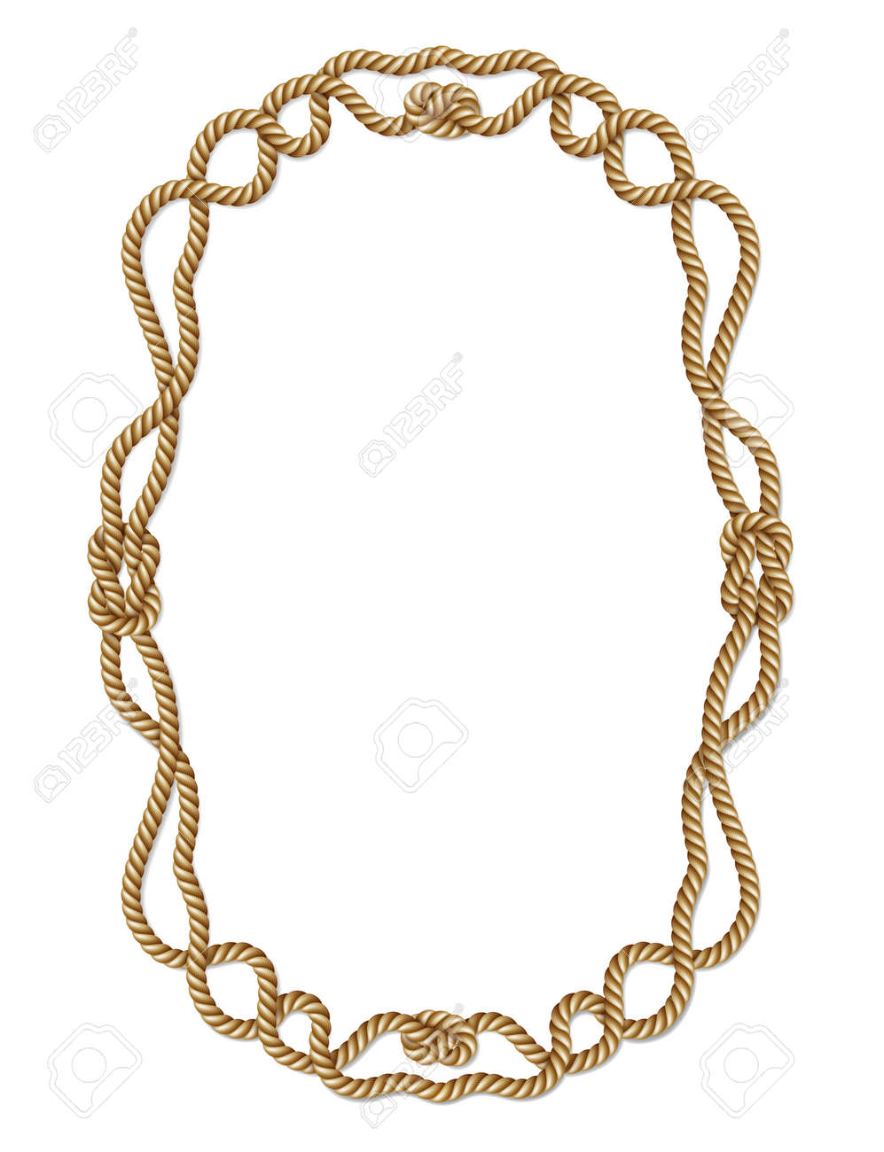 Gelbes Seil Gewebt Vektor-Grenze Mit Einem Seil Knoten, Vertikalen ...